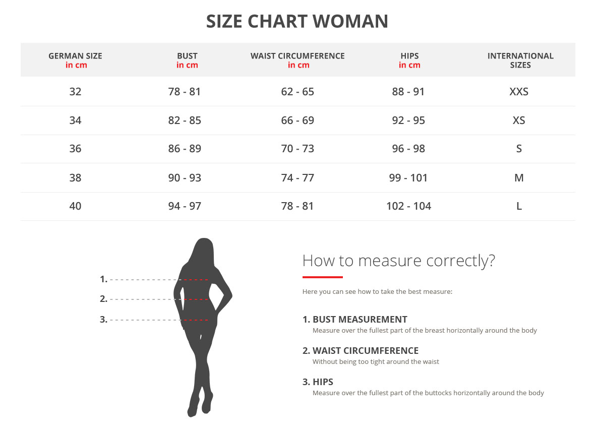 Size Chart for women golf clothing